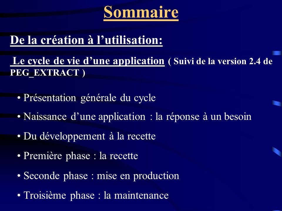 Sommaire De la création à lutilisation: Le cycle de vie dune application ( Suivi de la version 2.4 de PEG_EXTRACT ) Présentation générale du cycle Naissance dune application : la réponse à un besoin Du développement à la recette Première phase : la recette Seconde phase : mise en production Troisième phase : la maintenance