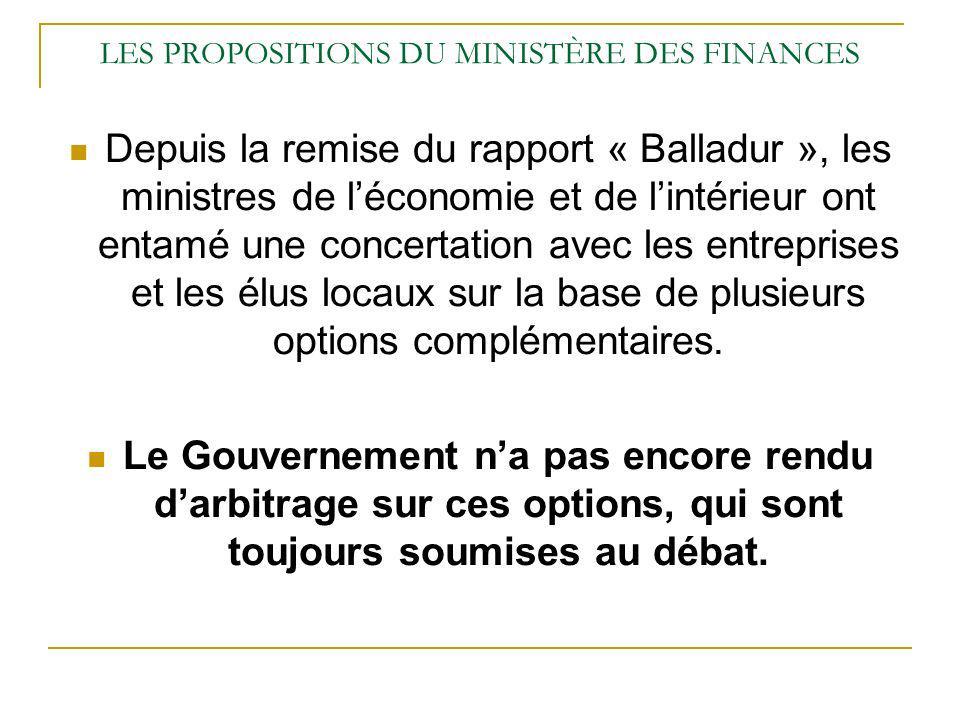 LES PROPOSITIONS DU MINISTÈRE DES FINANCES Depuis la remise du rapport « Balladur », les ministres de léconomie et de lintérieur ont entamé une concer