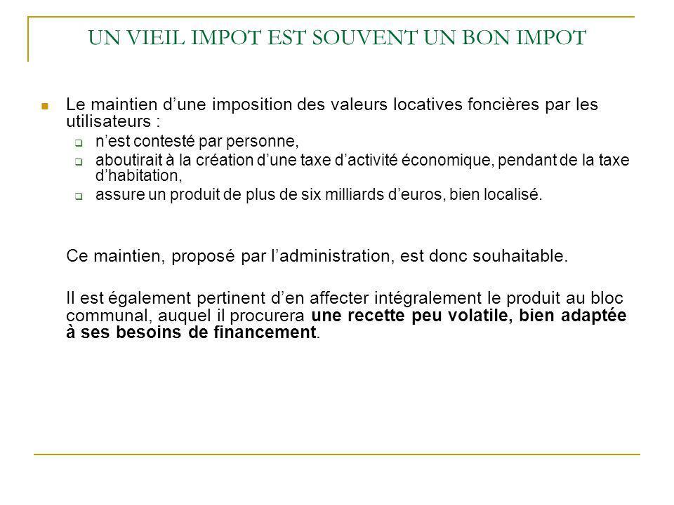 UN VIEIL IMPOT EST SOUVENT UN BON IMPOT Le maintien dune imposition des valeurs locatives foncières par les utilisateurs : nest contesté par personne,