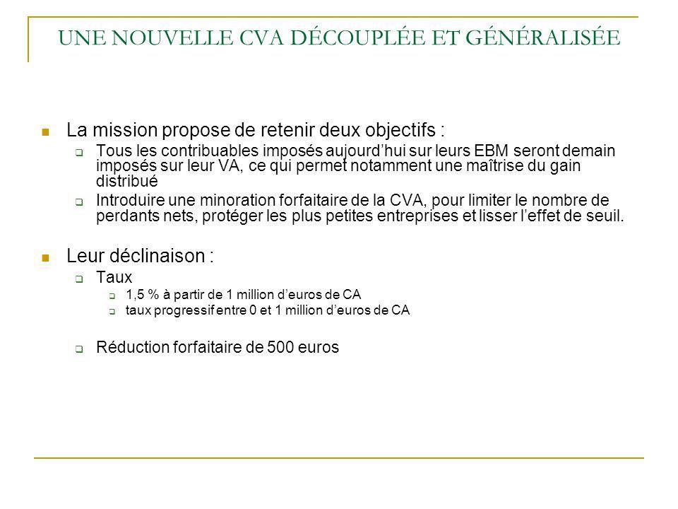 UNE NOUVELLE CVA DÉCOUPLÉE ET GÉNÉRALISÉE La mission propose de retenir deux objectifs : Tous les contribuables imposés aujourdhui sur leurs EBM seron