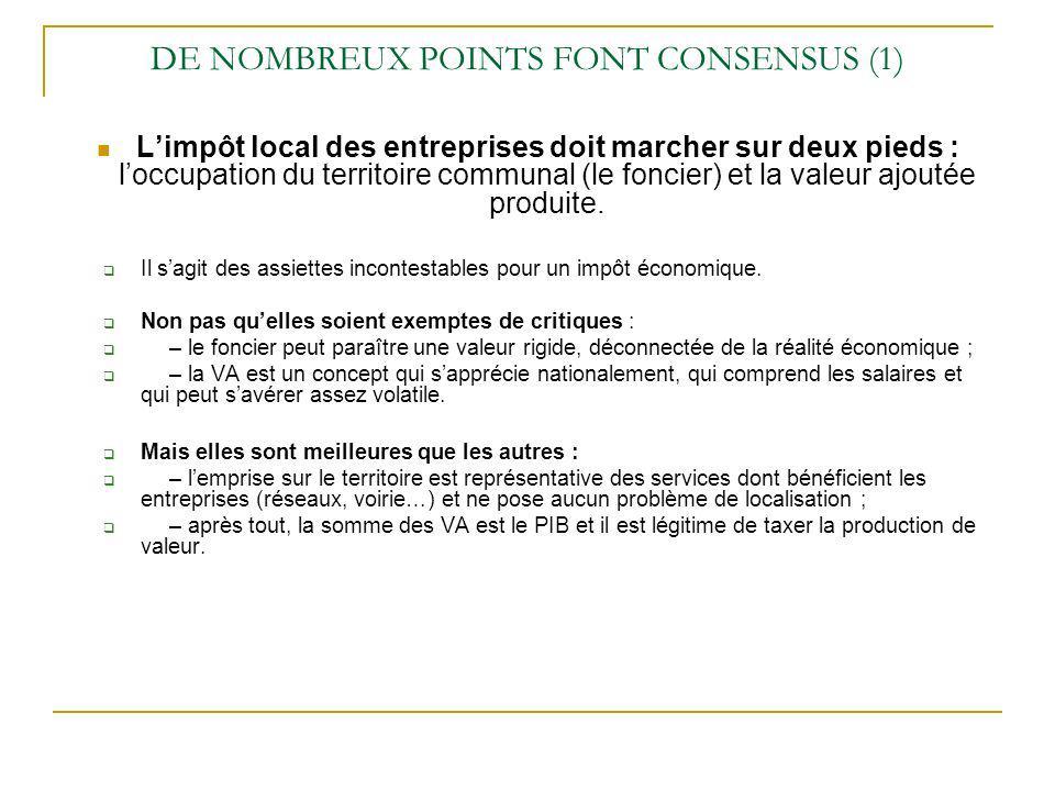 DE NOMBREUX POINTS FONT CONSENSUS (1) Limpôt local des entreprises doit marcher sur deux pieds : loccupation du territoire communal (le foncier) et la valeur ajoutée produite.
