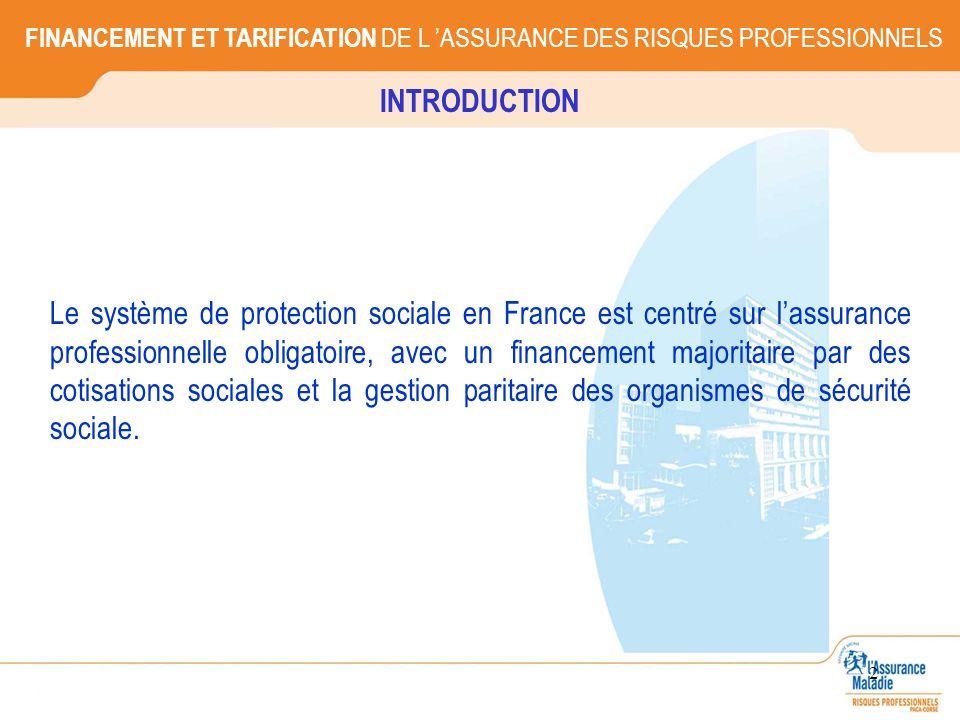 2 INTRODUCTION FINANCEMENT ET TARIFICATION DE L ASSURANCE DES RISQUES PROFESSIONNELS Le système de protection sociale en France est centré sur lassura