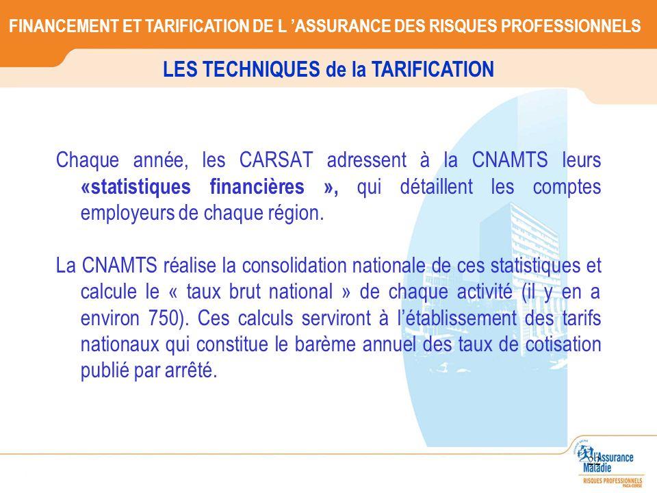 22 Chaque année, les CARSAT adressent à la CNAMTS leurs «statistiques financières », qui détaillent les comptes employeurs de chaque région. La CNAMTS