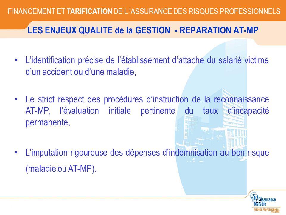 25 LES ENJEUX QUALITE de la GESTION - REPARATION AT-MP FINANCEMENT ET TARIFICATION DE L ASSURANCE DES RISQUES PROFESSIONNELS Lidentification précise d