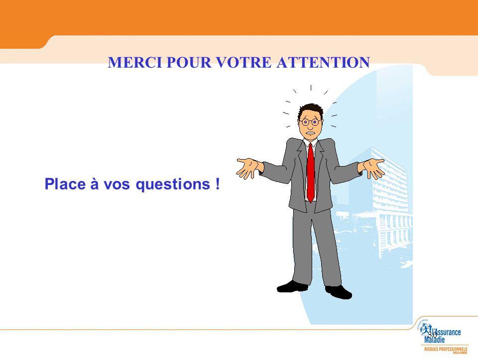 MERCI POUR VOTRE ATTENTION 30 Place à vos questions !