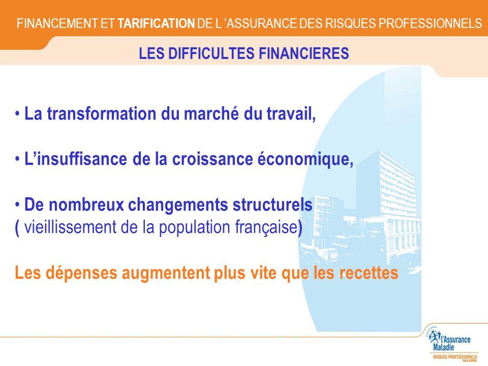 LES DIFFICULTES FINANCIERES FINANCEMENT ET TARIFICATION DE L ASSURANCE DES RISQUES PROFESSIONNELS La transformation du marché du travail, Linsuffisanc