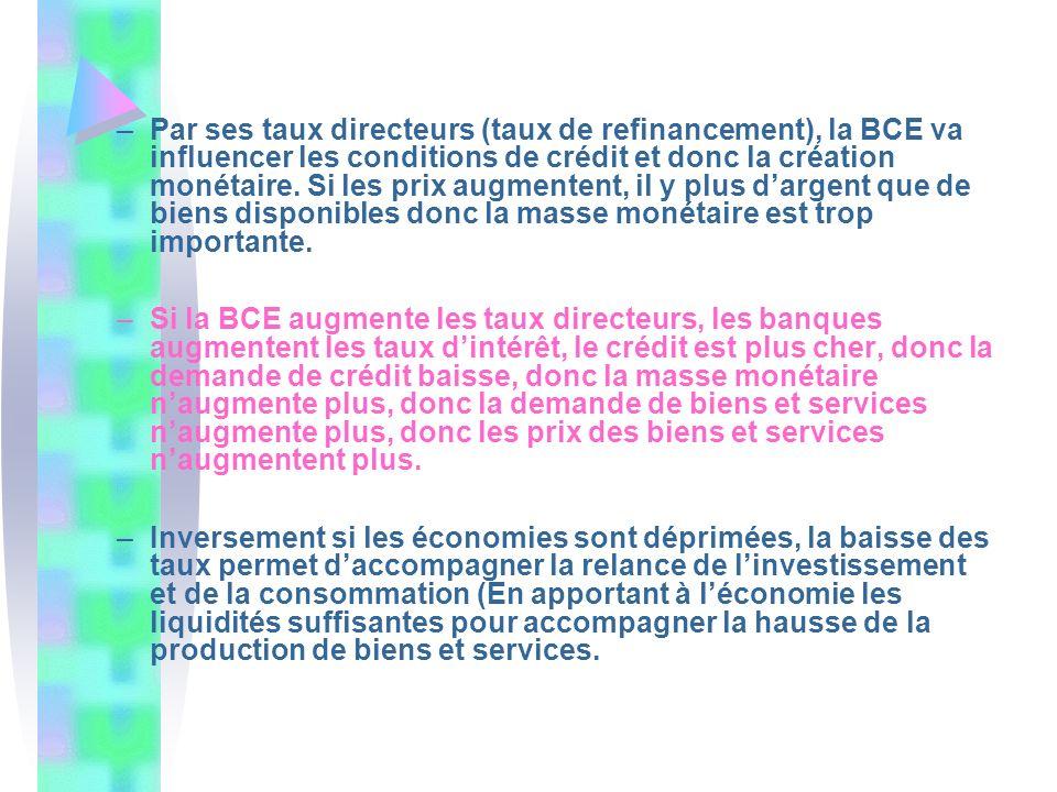 –Par ses taux directeurs (taux de refinancement), la BCE va influencer les conditions de crédit et donc la création monétaire. Si les prix augmentent,