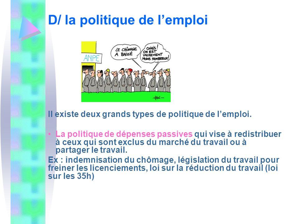 D/ la politique de lemploi Il existe deux grands types de politique de lemploi. La politique de dépenses passives qui vise à redistribuer à ceux qui s