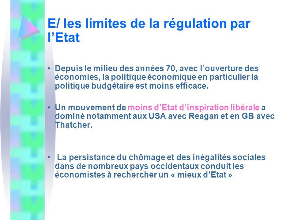 E/ les limites de la régulation par lEtat Depuis le milieu des années 70, avec louverture des économies, la politique économique en particulier la pol