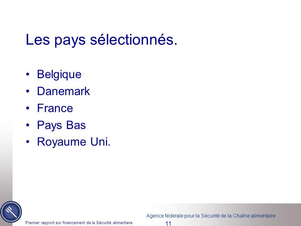 Agence fédérale pour la Sécurité de la Chaîne alimentaire Premier rapport sur financement de la Sécurité alimentaire 11 Les pays sélectionnés. Belgiqu