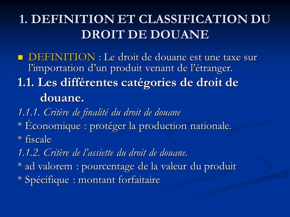 1. DEFINITION ET CLASSIFICATION DU DROIT DE DOUANE DEFINITION : Le droit de douane est une taxe sur limportation dun produit venant de létranger. DEFI