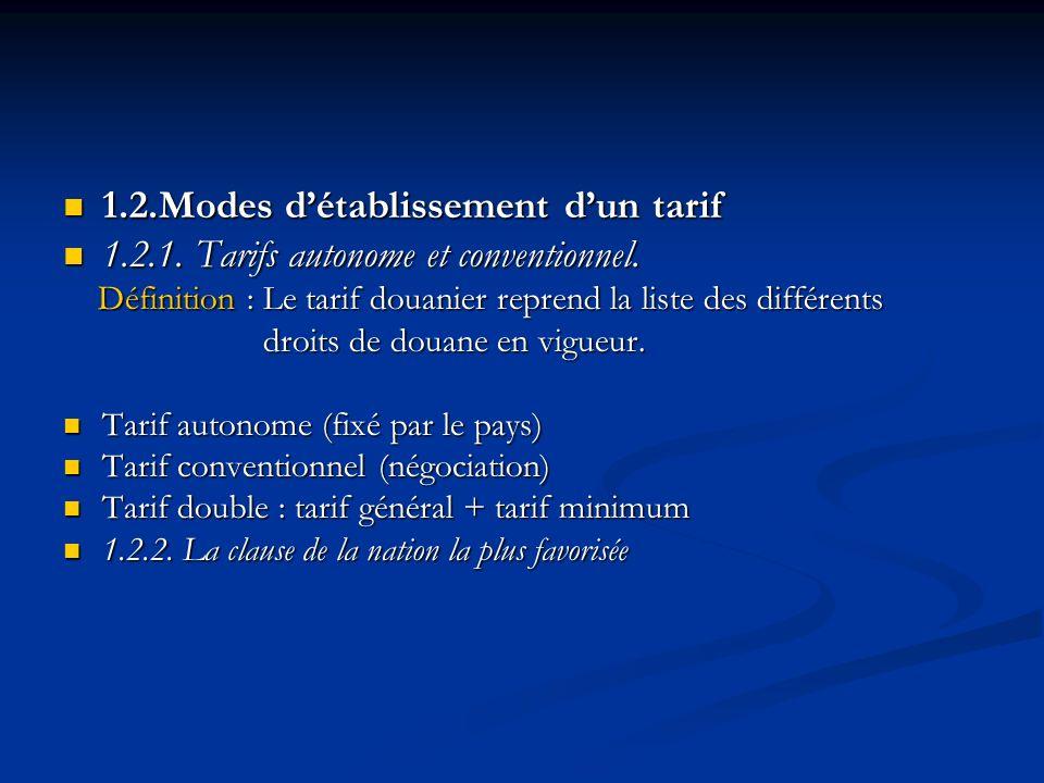 1.2.Modes détablissement dun tarif 1.2.Modes détablissement dun tarif 1.2.1. Tarifs autonome et conventionnel. 1.2.1. Tarifs autonome et conventionnel