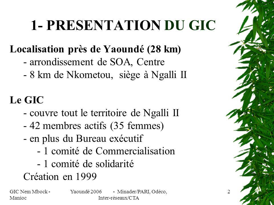 GIC Nem Mbock - Manioc Yaoundé 2006 - Minader/PARI, Odéco, Inter-réseaux/CTA 2 Localisation près de Yaoundé (28 km) - arrondissement de SOA, Centre - 8 km de Nkometou, siège à Ngalli II Le GIC - couvre tout le territoire de Ngalli II - 42 membres actifs (35 femmes) - en plus du Bureau exécutif - 1 comité de Commercialisation - 1 comité de solidarité Création en 1999 1- PRESENTATION DU GIC