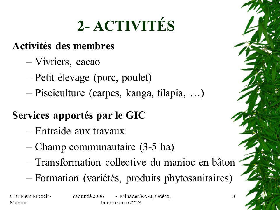 GIC Nem Mbock - Manioc Yaoundé 2006 - Minader/PARI, Odéco, Inter-réseaux/CTA 3 Activités des membres –Vivriers, cacao –Petit élevage (porc, poulet) –Pisciculture (carpes, kanga, tilapia, …) Services apportés par le GIC –Entraide aux travaux –Champ communautaire (3-5 ha) –Transformation collective du manioc en bâton –Formation (variétés, produits phytosanitaires) 2- ACTIVITÉS