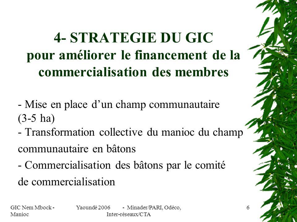 GIC Nem Mbock - Manioc Yaoundé 2006 - Minader/PARI, Odéco, Inter-réseaux/CTA 6 4- STRATEGIE DU GIC pour améliorer le financement de la commercialisation des membres - Mise en place dun champ communautaire (3-5 ha) - Transformation collective du manioc du champ communautaire en bâtons - Commercialisation des bâtons par le comité de commercialisation