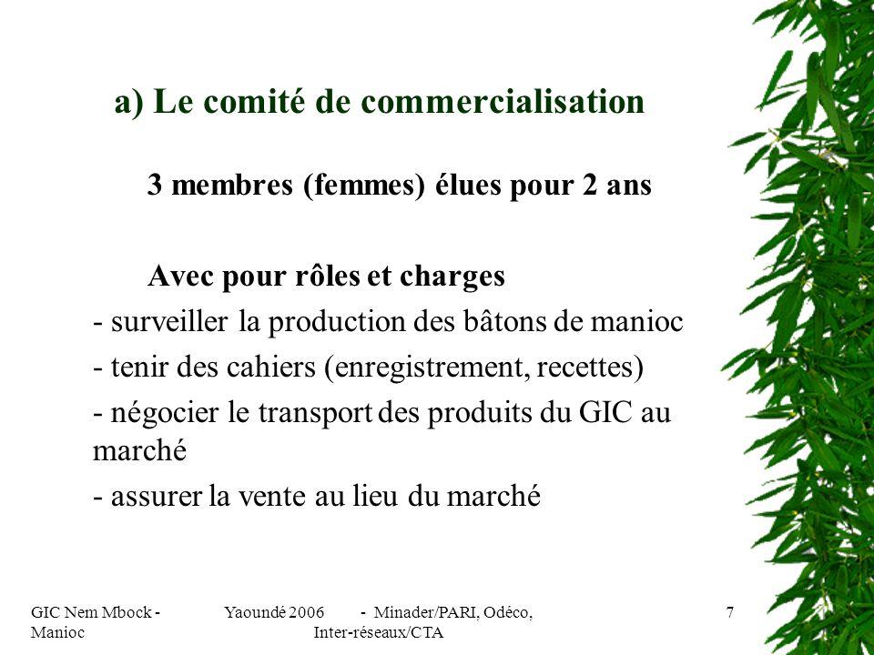 GIC Nem Mbock - Manioc Yaoundé 2006 - Minader/PARI, Odéco, Inter-réseaux/CTA 7 3 membres (femmes) élues pour 2 ans Avec pour rôles et charges - surveiller la production des bâtons de manioc - tenir des cahiers (enregistrement, recettes) - négocier le transport des produits du GIC au marché - assurer la vente au lieu du marché a) Le comité de commercialisation