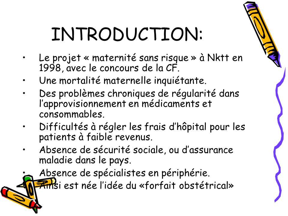 INTRODUCTION: Le projet « maternité sans risque » à Nktt en 1998, avec le concours de la CF.