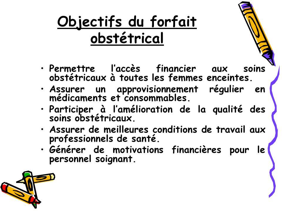 Objectifs du forfait obstétrical Permettre laccès financier aux soins obstétricaux à toutes les femmes enceintes.