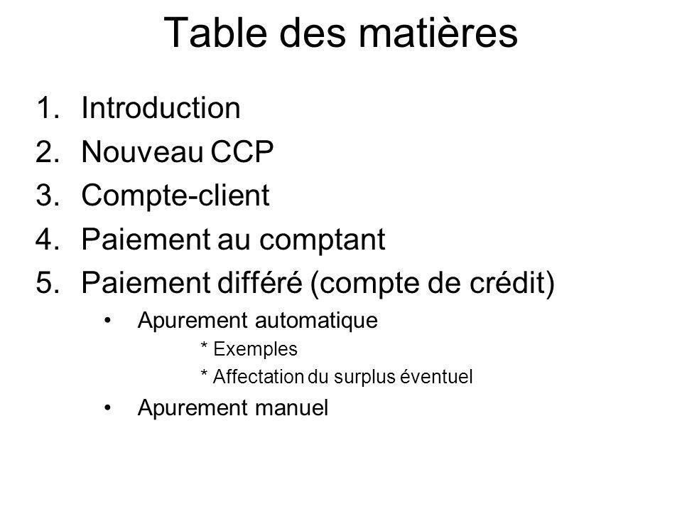 Table des matières 1.Introduction 2.Nouveau CCP 3.Compte-client 4.Paiement au comptant 5.Paiement différé (compte de crédit) Apurement automatique * E