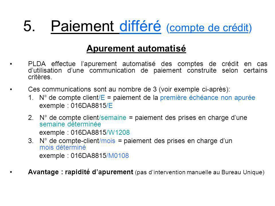 5.Paiement différé (compte de crédit) PLDA effectue lapurement automatisé des comptes de crédit en cas dutilisation dune communication de paiement con