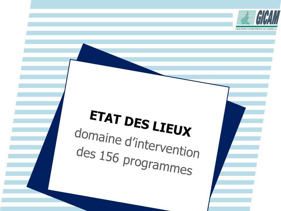 ETAT DES LIEUX domaine dintervention des 156 programmes
