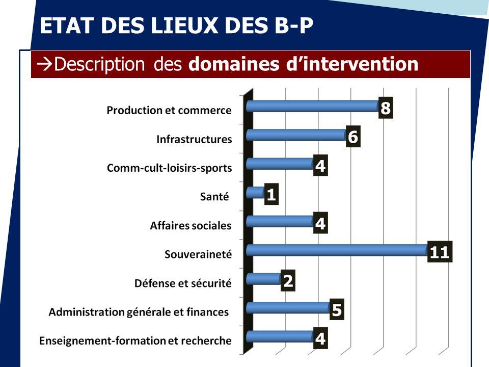 ETAT DES LIEUX DES B-P Description des domaines dintervention