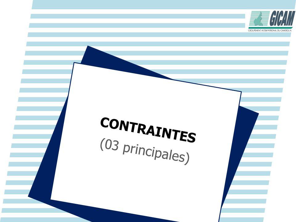 CONTRAINTES (03 principales)