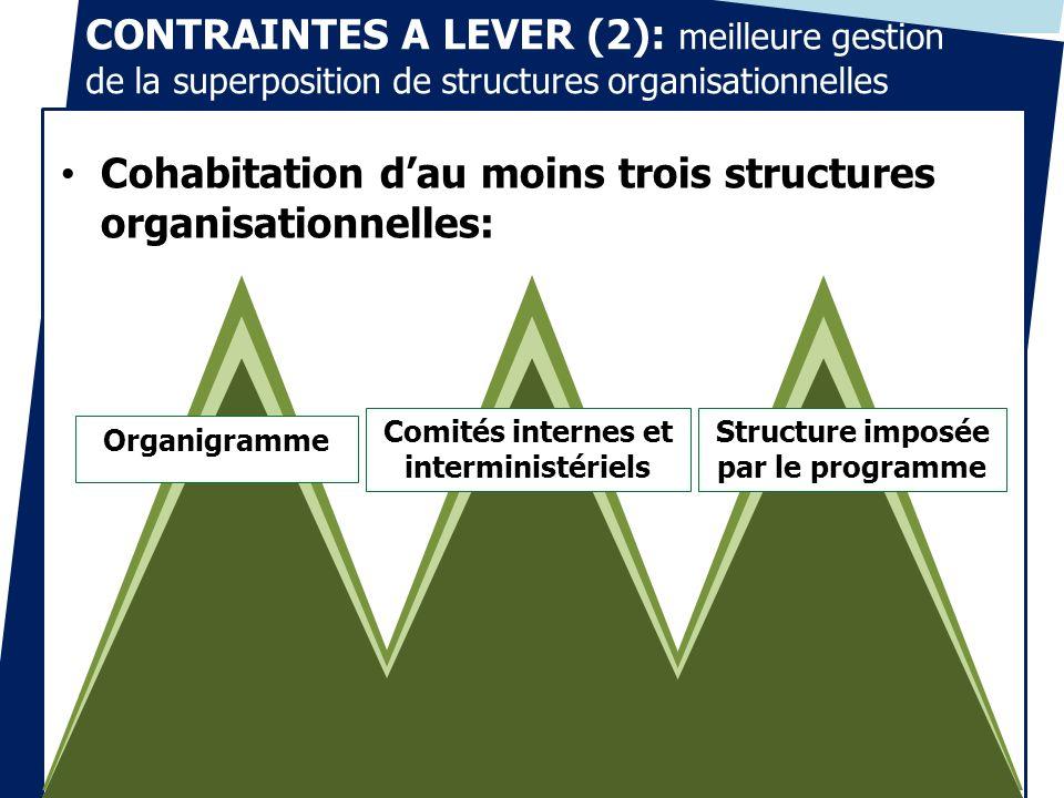 CONTRAINTES A LEVER (2): meilleure gestion de la superposition de structures organisationnelles Cohabitation dau moins trois structures organisationne
