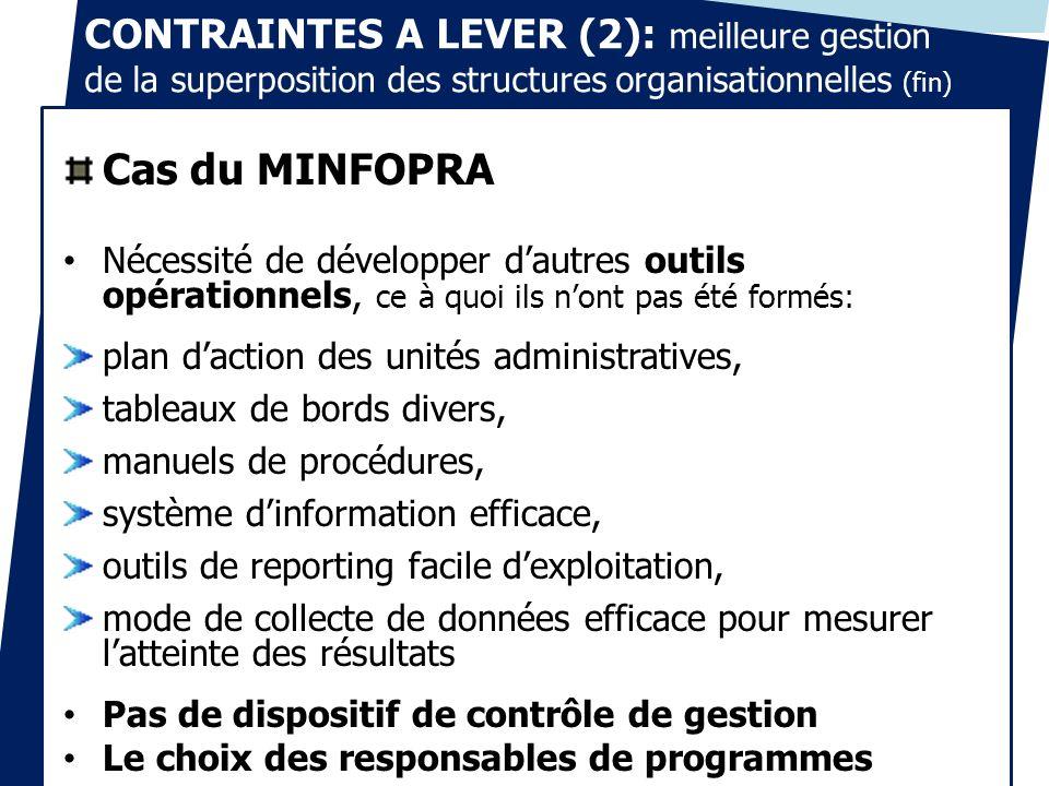 CONTRAINTES A LEVER (2): meilleure gestion de la superposition des structures organisationnelles (fin) Cas du MINFOPRA Nécessité de développer dautres