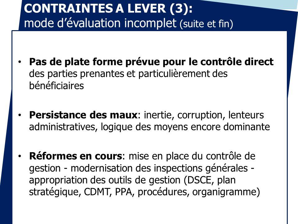 CONTRAINTES A LEVER (3): mode dévaluation incomplet (suite et fin) Pas de plate forme prévue pour le contrôle direct des parties prenantes et particul
