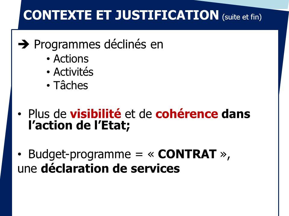 Programmes déclinés en Actions Activités Tâches Plus de visibilité et de cohérence dans laction de lEtat; Budget-programme = « CONTRAT », une déclarat