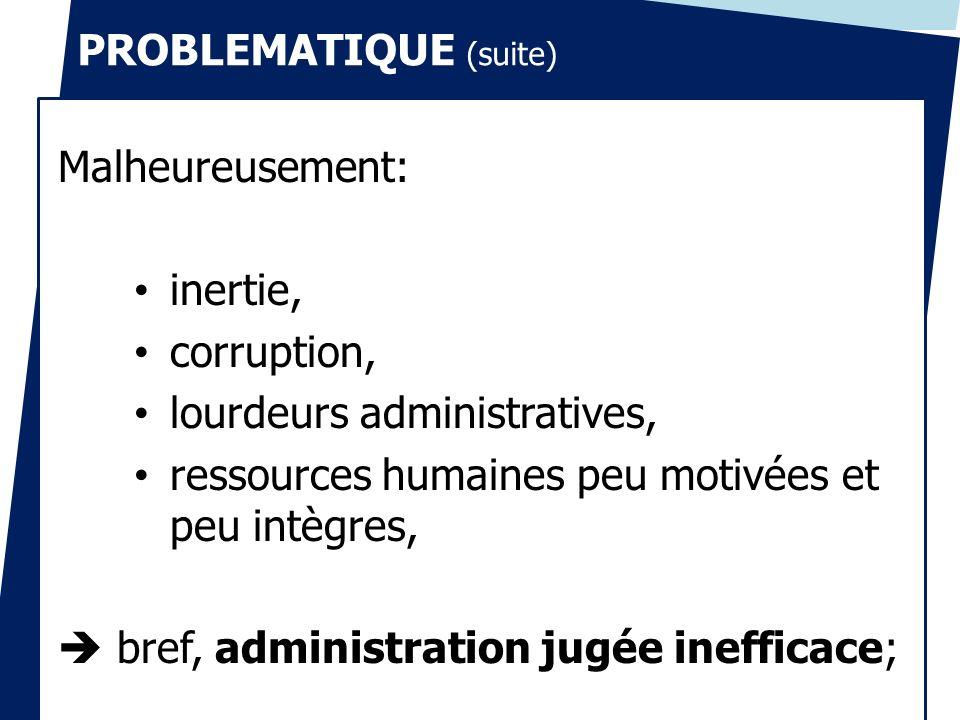 PROBLEMATIQUE (suite) Malheureusement: inertie, corruption, lourdeurs administratives, ressources humaines peu motivées et peu intègres, bref, adminis