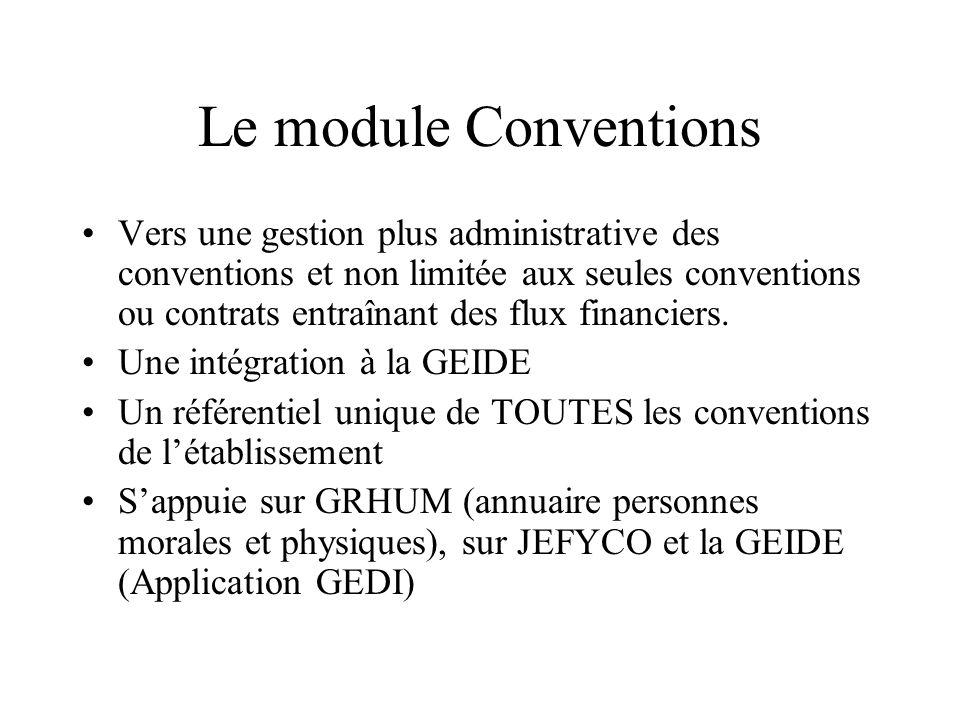Le module Conventions Vers une gestion plus administrative des conventions et non limitée aux seules conventions ou contrats entraînant des flux financiers.