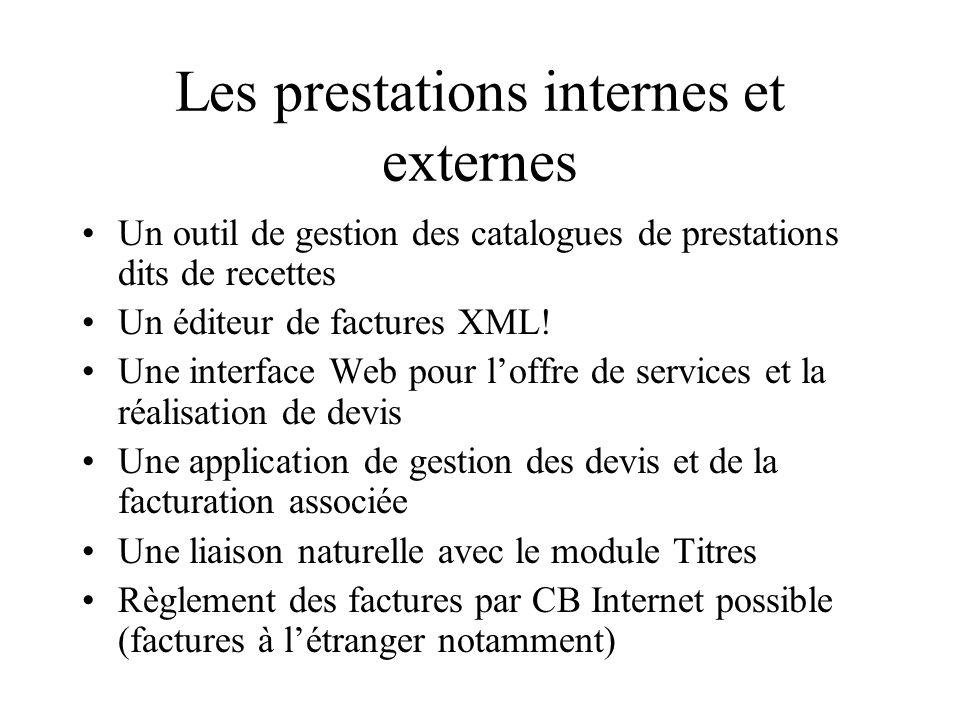 Les prestations internes et externes Un outil de gestion des catalogues de prestations dits de recettes Un éditeur de factures XML.