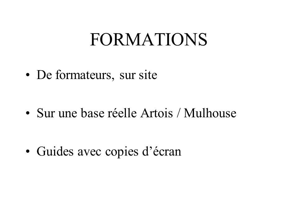FORMATIONS De formateurs, sur site Sur une base réelle Artois / Mulhouse Guides avec copies décran