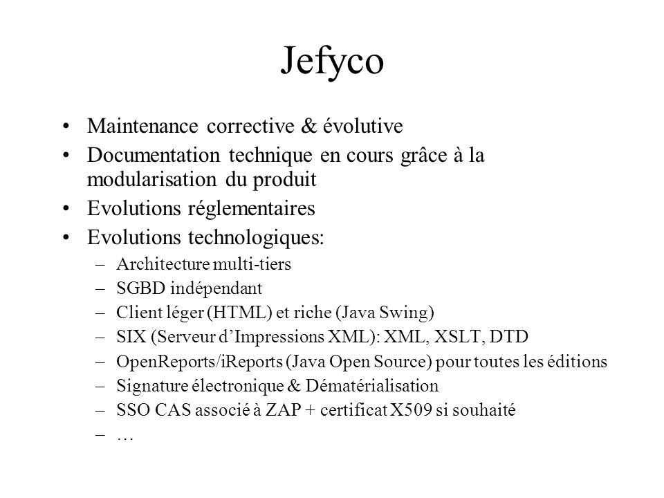 Jefyco Maintenance corrective & évolutive Documentation technique en cours grâce à la modularisation du produit Evolutions réglementaires Evolutions technologiques: –Architecture multi-tiers –SGBD indépendant –Client léger (HTML) et riche (Java Swing) –SIX (Serveur dImpressions XML): XML, XSLT, DTD –OpenReports/iReports (Java Open Source) pour toutes les éditions –Signature électronique & Dématérialisation –SSO CAS associé à ZAP + certificat X509 si souhaité –…