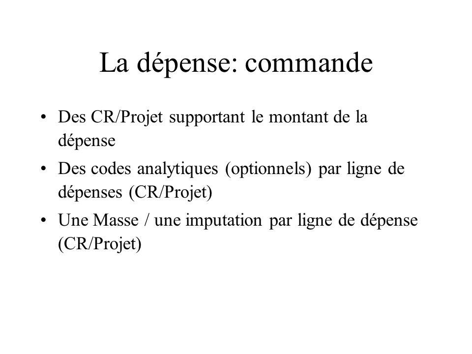 La dépense: commande Des CR/Projet supportant le montant de la dépense Des codes analytiques (optionnels) par ligne de dépenses (CR/Projet) Une Masse / une imputation par ligne de dépense (CR/Projet)