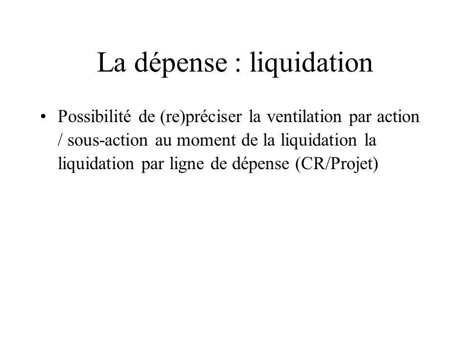 La dépense : liquidation Possibilité de (re)préciser la ventilation par action / sous-action au moment de la liquidation la liquidation par ligne de dépense (CR/Projet)