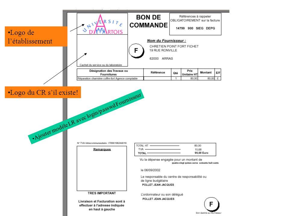 Ajouter modèle LR avec login/passwd Fournisseur Logo de létablissement Logo du CR sil existe!