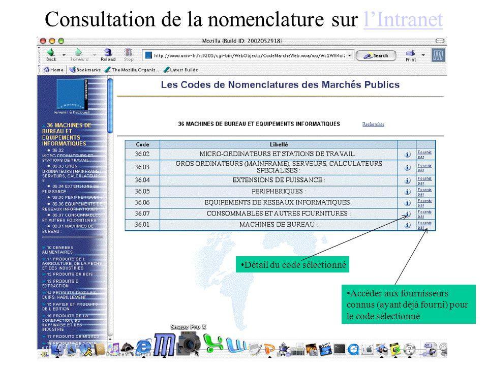 Consultation de la nomenclature sur lIntranetlIntranet Accéder aux fournisseurs connus (ayant déjà fourni) pour le code sélectionné Détail du code sélectionné