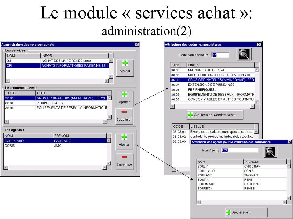 Le module « services achat »: administration(2) Les services achat