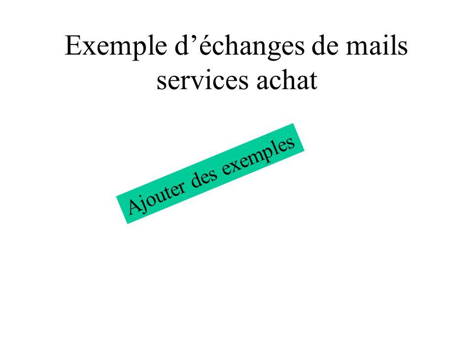 Exemple déchanges de mails services achat Ajouter des exemples