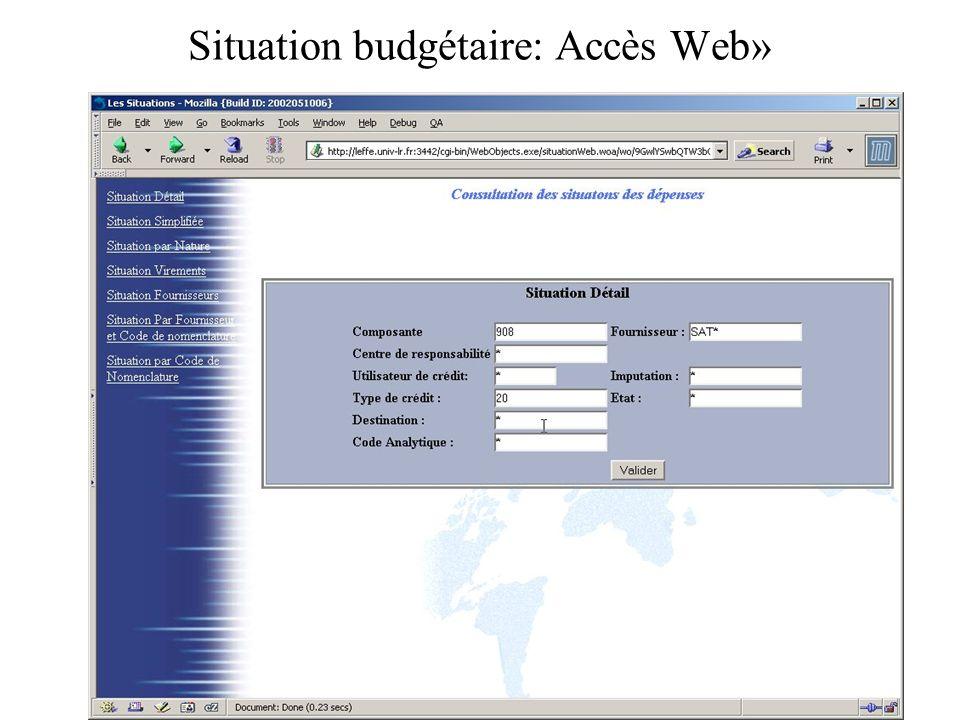 Situation budgétaire: Accès Web»