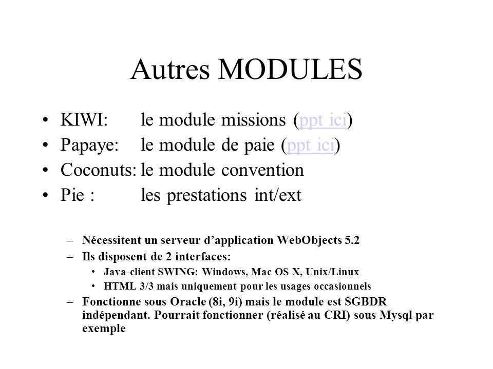 Autres MODULES KIWI: le module missions (ppt ici)ppt ici Papaye:le module de paie (ppt ici)ppt ici Coconuts:le module convention Pie : les prestations int/ext –Nécessitent un serveur dapplication WebObjects 5.2 –Ils disposent de 2 interfaces: Java-client SWING: Windows, Mac OS X, Unix/Linux HTML 3/3 mais uniquement pour les usages occasionnels –Fonctionne sous Oracle (8i, 9i) mais le module est SGBDR indépendant.
