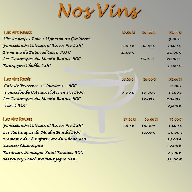 Nos Vins Les vins Blancs 37.50 cl 50.00 cl 75.00 cl Les vins Blancs 37.50 cl 50.00 cl 75.00 cl Vin de pays « Rolle »Vigneron du Garlaban 9.00 Fonscolombe Coteaux dAix en Pce AOC 7.00 10.00 13.00 Domaine du Paternel Cassis AO C 11.00 20.00 Les Restanques du Moulin Bandol AOC 12.00 20.00 Bourgogne Chablis AOC 33.00 Les vins Rosés 37.50 cl 50.00 cl 75.00 cl Les vins Rosés 37.50 cl 50.00 cl 75.00 cl Cote de Provence « Valadas » AOC 12.00 Fonscolombe Coteaux dAix en Pce AOC 7.00 10.00 13.00 Les Restanques du Moulin Bandol AOC12.00 20.00 Tavel AOC 23.00 Les vins Rouges 37.50 cl 50.00 cl 75.00 cl Fonscolombe Coteaux dAix en Pce AOC 7.00 10.00 13.00 Les Restanques du Moulin Bandol AOC12.00 20.00 Domaine de Chamfort Cote du Rhône AOC 14.00 Saumur Champigny 22.00 Bordeaux Montagne Saint Emilion AOC 27.00 Mercurey Bouchard Bourgogne AOC 38.00