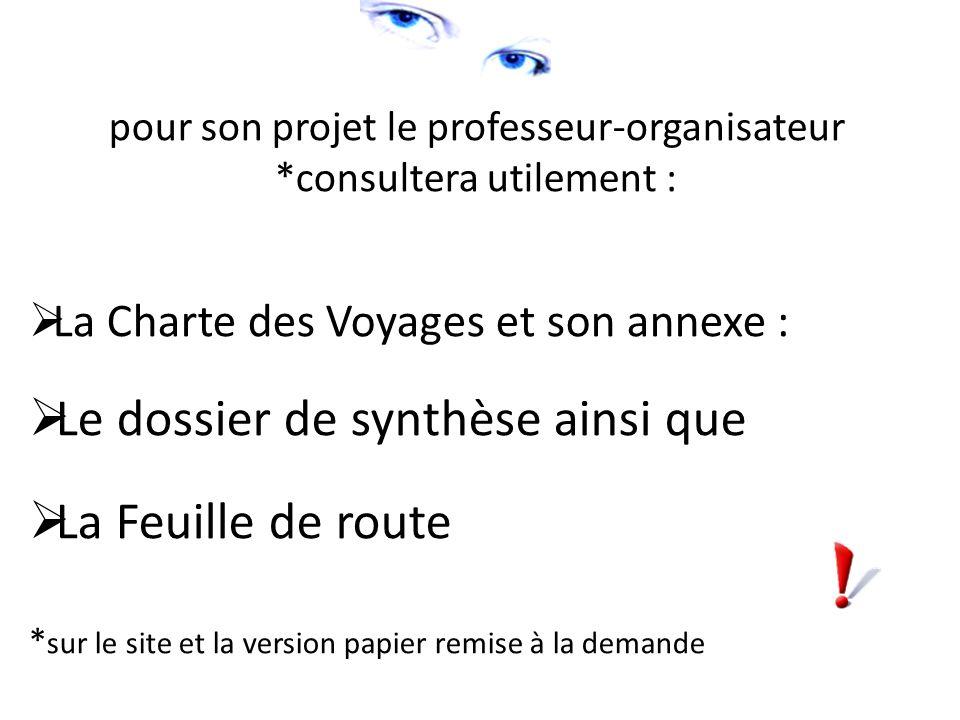 pour son projet le professeur-organisateur *consultera utilement : La Charte des Voyages et son annexe : Le dossier de synthèse ainsi que La Feuille de route * sur le site et la version papier remise à la demande