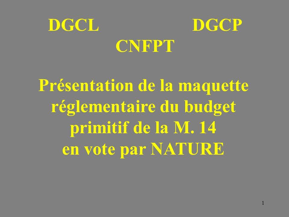 1 Présentation de la maquette réglementaire du budget primitif de la M. 14 en vote par NATURE DGCLDGCP CNFPT