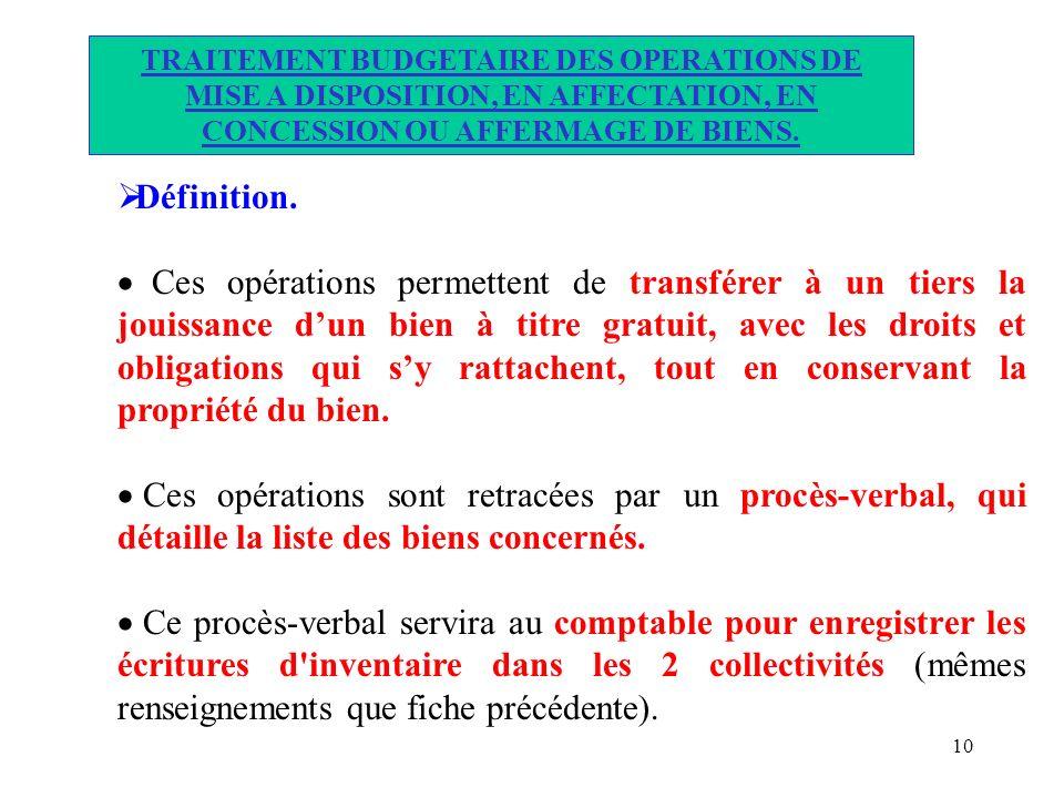 10 TRAITEMENT BUDGETAIRE DES OPERATIONS DE MISE A DISPOSITION, EN AFFECTATION, EN CONCESSION OU AFFERMAGE DE BIENS. Définition. Ces opérations permett