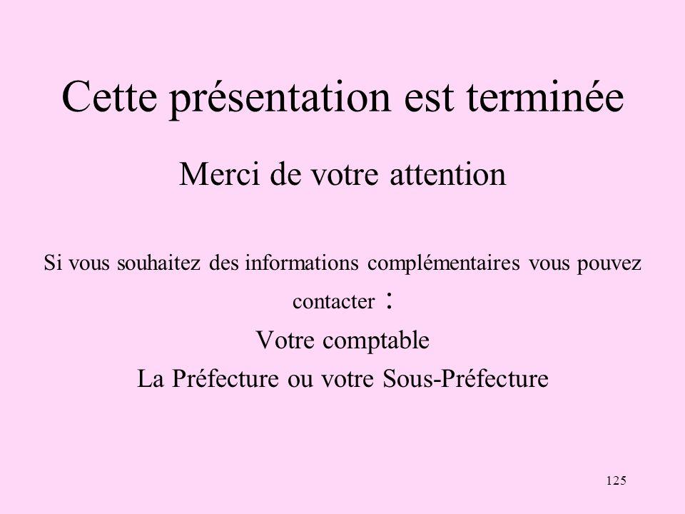 125 Cette présentation est terminée Merci de votre attention Si vous souhaitez des informations complémentaires vous pouvez contacter : Votre comptabl