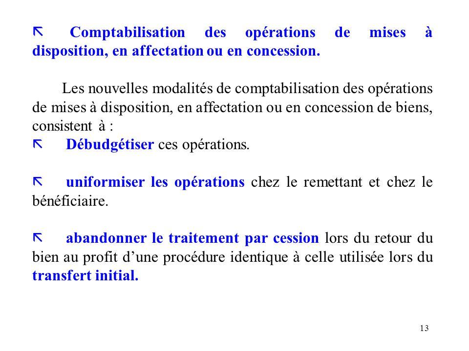 13 ã Comptabilisation des opérations de mises à disposition, en affectation ou en concession. Les nouvelles modalités de comptabilisation des opératio
